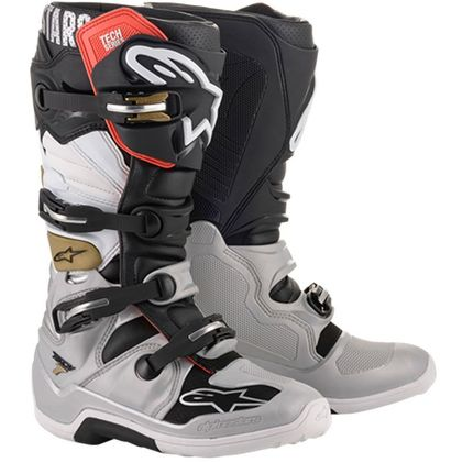 Bottes cross Alpinestars TECH 7 - BLACK SILVER WHITE GOLD 2022
